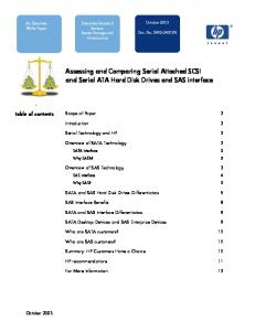 Assessing and Comparing Serial Attached SCSI and Serial ATA Hard Disk Drives and SAS interface