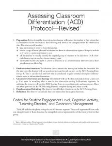 Assessing Classroom Differentiation (ACD) Protocol Revised 1