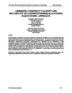 ASSESSING CONSTRUCT VALIDITY AND RELIABILITY OF COMPETITIVENESS SCALE USING RASCH MODEL APPROACH