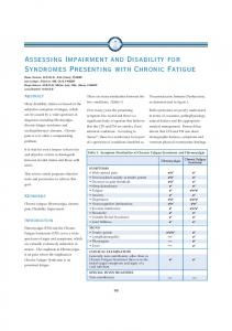 Assessing Impairment and Disability for Syndromes Presenting with Chronic Fatigue