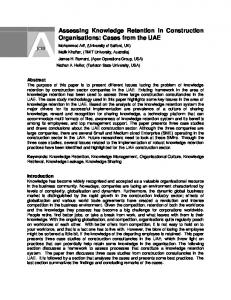 Assessing Knowledge Retention in Construction Organisations: Cases from the UAE