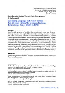 Assessing language indicators across the lifespan within the German National Educational Panel Study (NEPS)