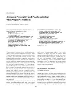 Assessing Personality and Psychopathology with Projective Methods