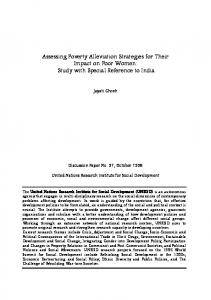 Assessing Poverty Alleviation Strategies for Their Impact on Poor Women: Study with Special Reference to India