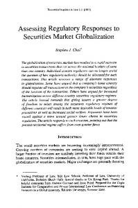 Assessing Regulatory Responses to Securities Market Globalization