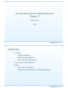 Assessing Studies Based on Multiple Regression. Chapter 7. Michael Ash CPPA