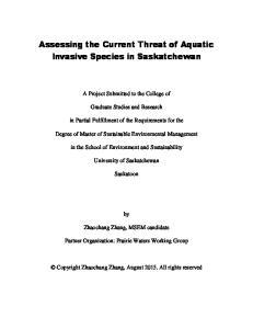 Assessing the Current Threat of Aquatic Invasive Species in Saskatchewan