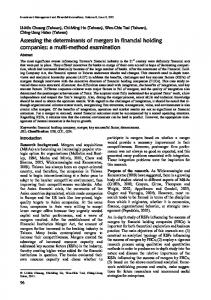 Assessing the determinants of mergers in financial holding companies: a multi-method examination