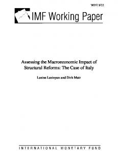 Assessing the Macroeconomic Impact of Structural Reforms: The Case of Italy
