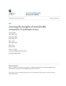 Assessing the strengths of mental health consumers: A systematic review