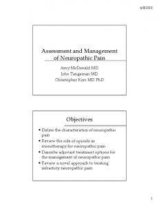 Assessment and Management of Neuropathic Pain. Objectives