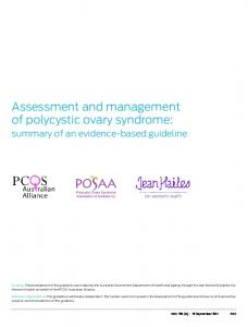 Assessment and management of polycystic ovary syndrome: