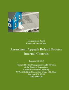 Assessment Appeals Refund Process Internal Controls