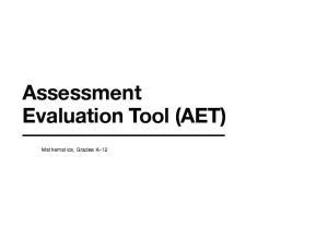 Assessment Evaluation Tool (AET) Mathematics, Grades K 12