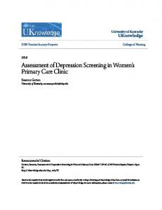 Assessment of Depression Screening in Women s Primary Care Clinic