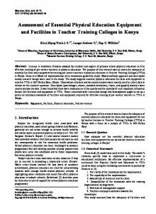 Assessment of Essential Physical Education Equipment and Facilities in Teacher Training Colleges in Kenya