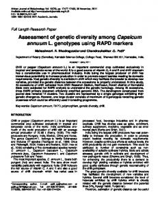 Assessment of genetic diversity among Capsicum annuum L. genotypes using RAPD markers
