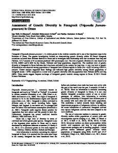 Assessment of Genetic Diversity in Fenugreek (Trigonella foenumgraecum) in Oman