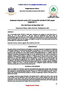 Assessment of genetic purity of F 1 interspecific hybrids of Chilli pepper (Capsicum L.)