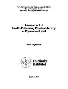 Assessment of Health-Enhancing Physical Activity at Population Level
