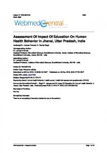 Assessment Of Impact Of Education On Human Health Behavior In Jhansi, Uttar Pradesh, India