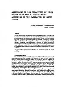 ASSESSMENT OF JOB CAPACITIES OF YOUNG PEOPLE WITH MENTAL DISABILITIES ACCORDING TO THE EVALUATION OF MOTOR SKILLS