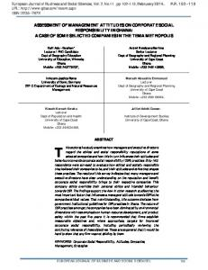 ASSESSMENT OF MANAGEMENT ATTITUDES ON CORPORATE SOCIAL RESPONSIBILITY IN GHANA: A CASE OF SOME SELECTED COMPANIES IN THE TEMA METROPOLIS