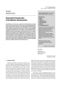 Assessment of muscle mass in the elderly in clinical practice