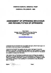 ASSESSMENT OF OFFENDING BEHAVIOUR AND REHABILITATION OF OFFENDERS