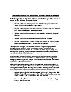 Assessment of Student Goals and Learning Outcomes: Department of History