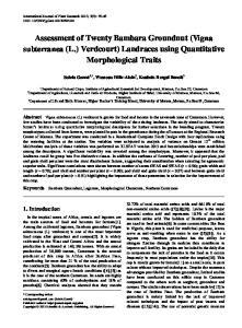 Assessment of Twenty Bambara Groundnut (Vigna subterranea (L.) Verdcourt) Landraces using Quantitative Morphological Traits