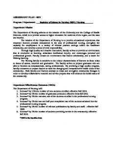 ASSESSMENT PLAN - BSN. Department Mission