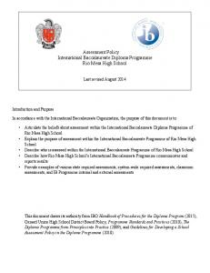 Assessment Policy International Baccalaureate Diploma Programme Rio Mesa High School