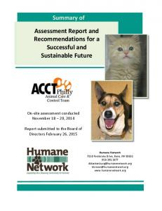 Assessment Report and Recommendations for a Successful and Sustainable Future