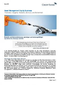Asset Management Equity Business Thematic Insights: Robotik, Schutz und Sicherheit