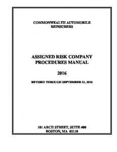 ASSIGNED RISK COMPANY PROCEDURES MANUAL