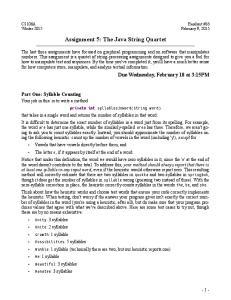 Assignment 5: The Java String Quartet