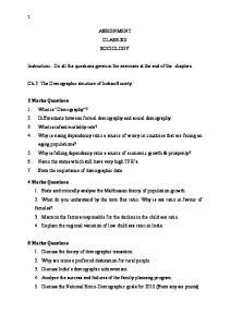 ASSIGNMENT CLASS-XII SOCIOLOGY