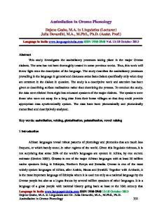 Assimilation in Oromo Phonology