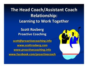 Assistant Coach Relationship: Learning to Work Together