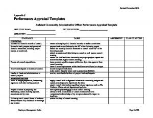 Assistant Community Administrative Officer Performance Appraisal Template