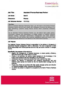 Assistant Finance Business Partner
