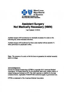 Assistant Surgery Not Medically Necessary (NMN)