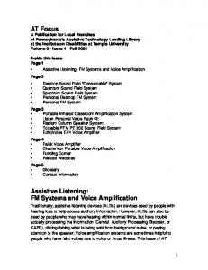 Assistive Listening: FM Systems and Voice Amplification