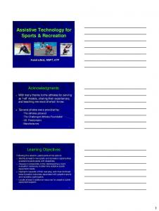 Assistive Technology for Sports & Recreation