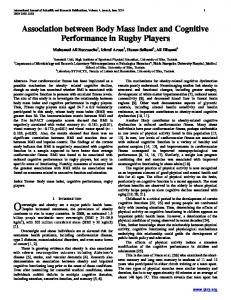 Association between Body Mass Index and Cognitive Performance in Rugby Players