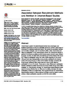 Association between Recruitment Methods and Attrition in Internet-Based Studies
