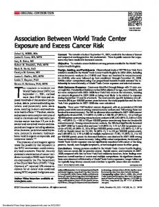 Association Between World Trade Center Exposure and Excess Cancer Risk