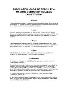 ASSOCIATION of ADJUNCT FACULTY of MACOMB COMMUNITY COLLEGE CONSTITUTION