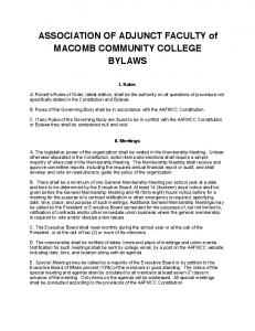 ASSOCIATION OF ADJUNCT FACULTY of MACOMB COMMUNITY COLLEGE BYLAWS